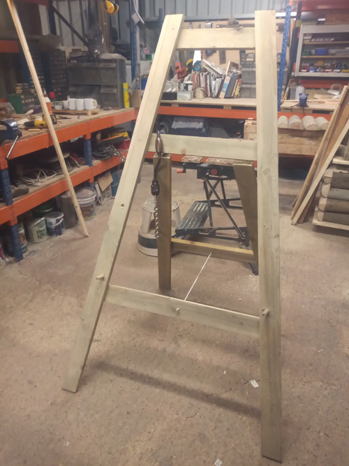 Easel construction in workshop